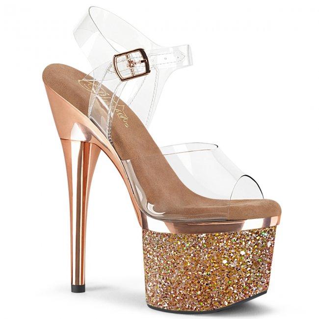 vysoké dámské sandály s glitry Esteem-708chlg-crgch - Velikost 35