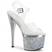 vysoké stříbrné dámské sandály s glitry Esteem-708chlg-csch