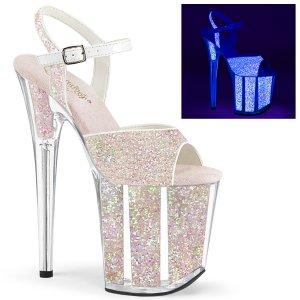 růžové sandálky na extra vysoké platformě s glitry Flamingo-810uvg-nopg