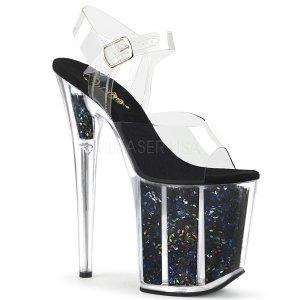 černé sandálky na extra vysoké platformě s glitry Flamingo-808gf-cbmcg