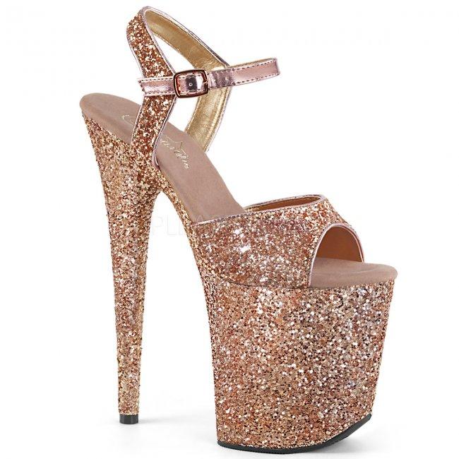 růžové sandálky na extra vysoké platformě s glitry Flamingo-810lg-rogldg - Velikost 40