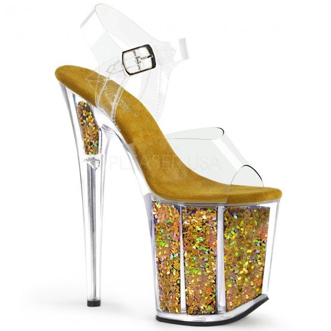 zlaté sandálky na extra vysoké platformě s glitry Flamingo-808gf-cgmcg - Velikost 36