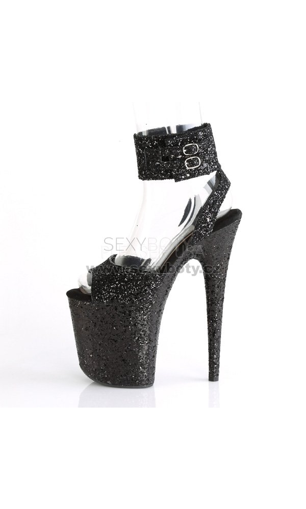 0c5a59a69eb černé sandálky na extra vysoké platformě s glitry Flamingo-891lg-bg -  Velikost 41