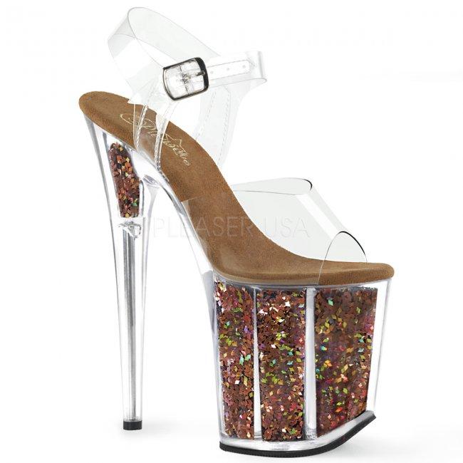 hnědé sandálky na extra vysoké platformě s glitry Flamingo-808gf-cbnmcg - Velikost 39