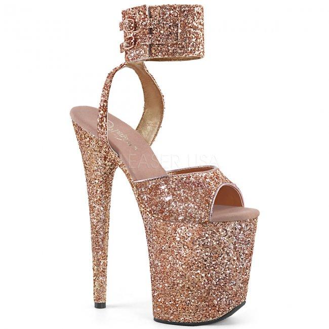 růžové sandálky na extra vysoké platformě s glitry Flamingo-891lg-rogldg - Velikost 37