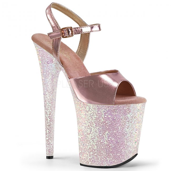 dámské boty na extra vysoké platformě s glitry Flamingo-809lg-rogpuopg - Velikost 36