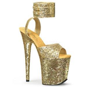 zlaté sandálky na extra vysoké platformě s glitry Flamingo-891lg-gg