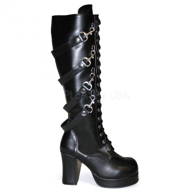 černé dámské kozačky s přezkami Gothika-209-bpu - Velikost 36