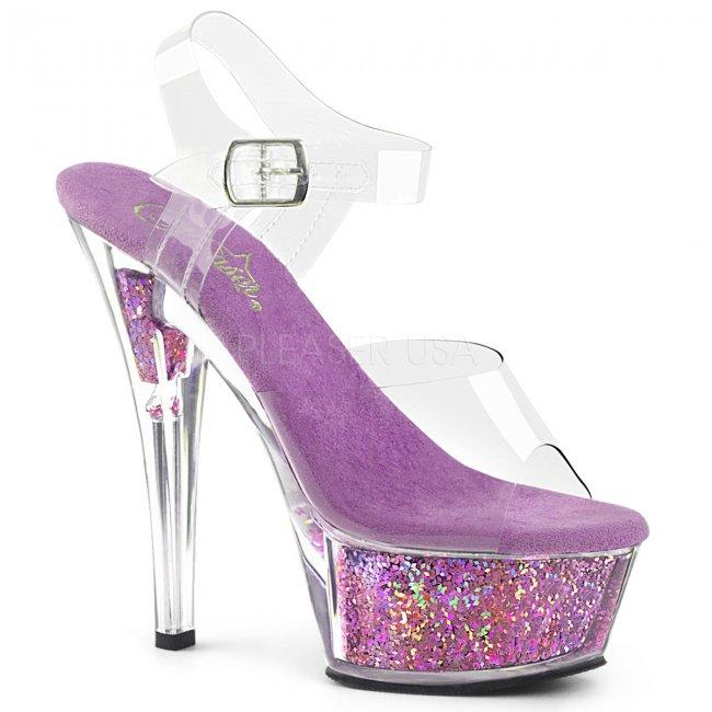 dámské fialové sandály s glitry Kiss-208gf-clvg - Velikost 36
