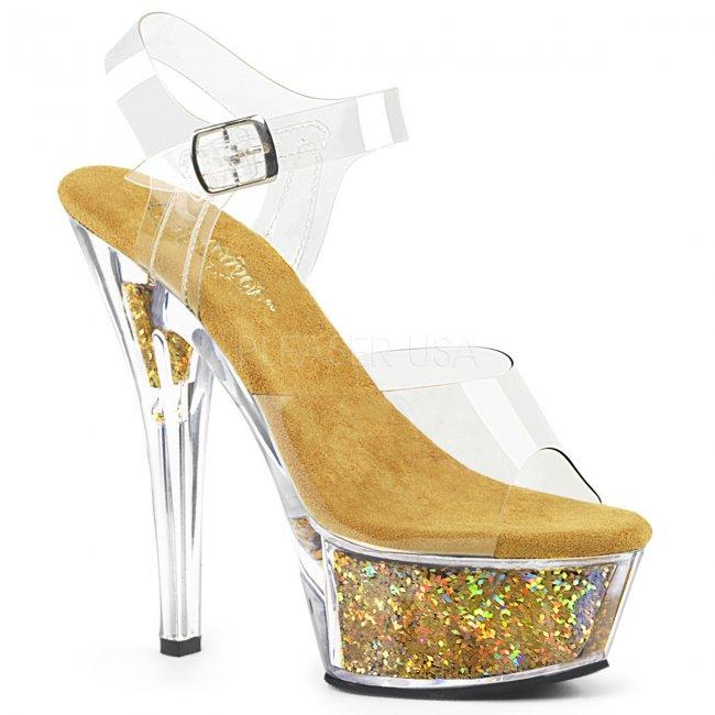 dámské zlaté sandály s glitry Kiss-208gf-cbg - Velikost 38