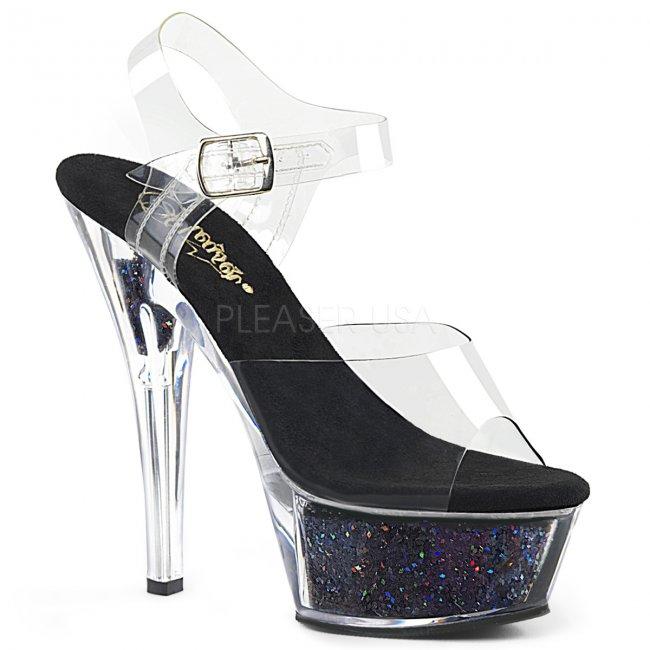 dámské černé sandály s glitry Kiss-208gf-cbg - Velikost 35