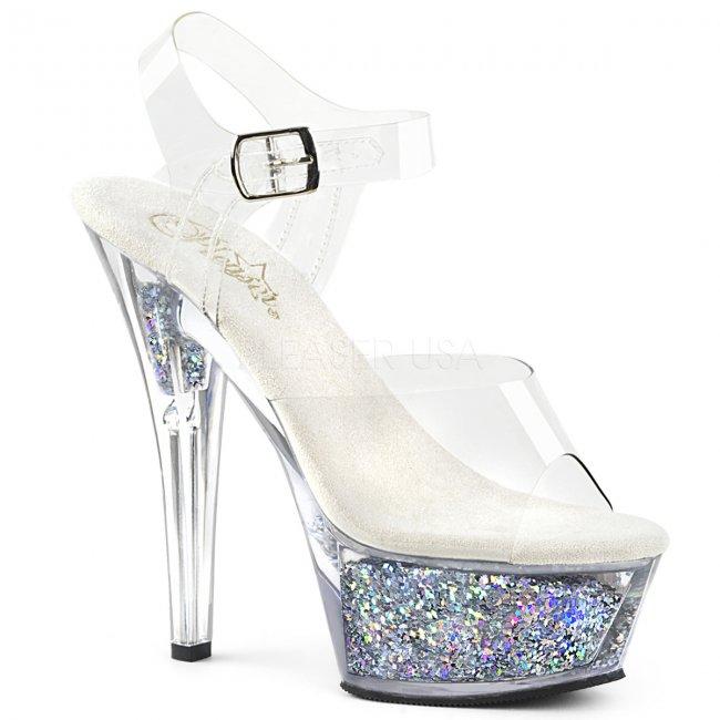 dámské stříbrné sandály s glitry Kiss-208gf-csg - Velikost 37