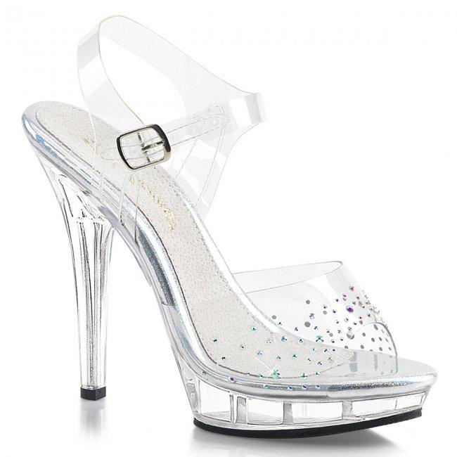 dámské průhledné sandálky s kamínky Lip-108sd-c - Velikost 37