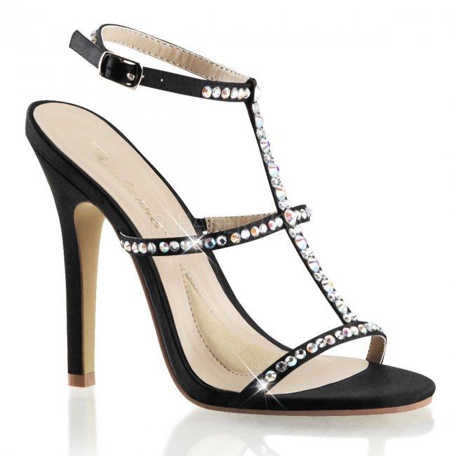 černé dámské sandálky na podpatku Melody-18-bsa - Velikost 39