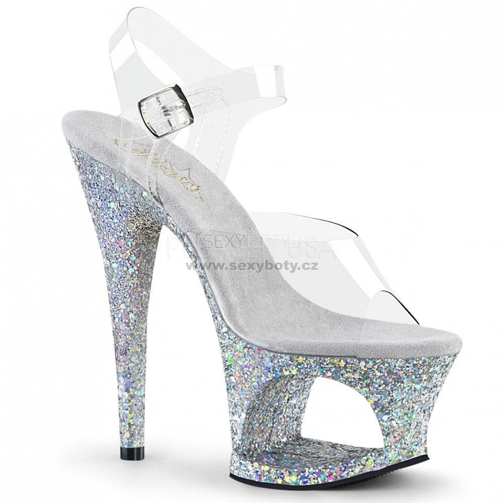 cdbada81e42 vysoké stříbrné sandále s platformou Moon-708lg-csg - Velikost 39 ...