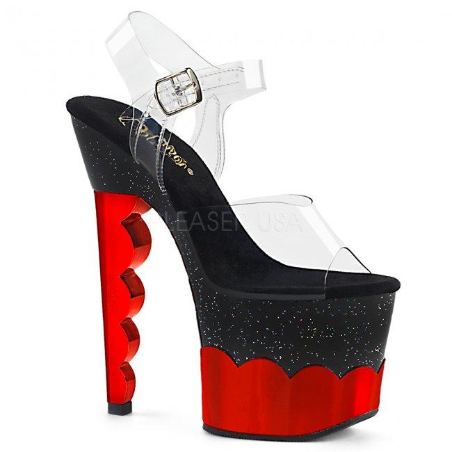 vysoké sandále s glitry a hologramem Scallop-708-2hgm-cbrhg - Velikost 35