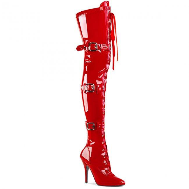 luxusní červené kozačky Pleaser Seduce-3028-r - Velikost 37