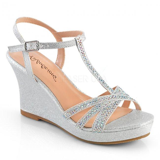 stříbrné dámské sandálky na klínku Silvie-20-sfa - Velikost 40