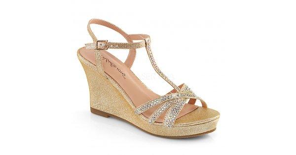 2616629b1714 zlaté dámské sandálky na klínku Silvie-20-chafa - Velikost 41   SEXYBOTY.cz