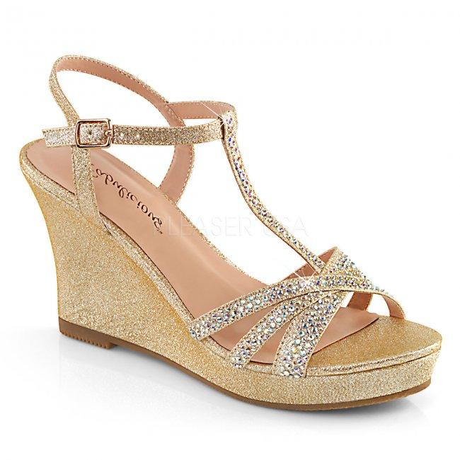 zlaté dámské sandálky na klínku Silvie-20-chafa - Velikost 35