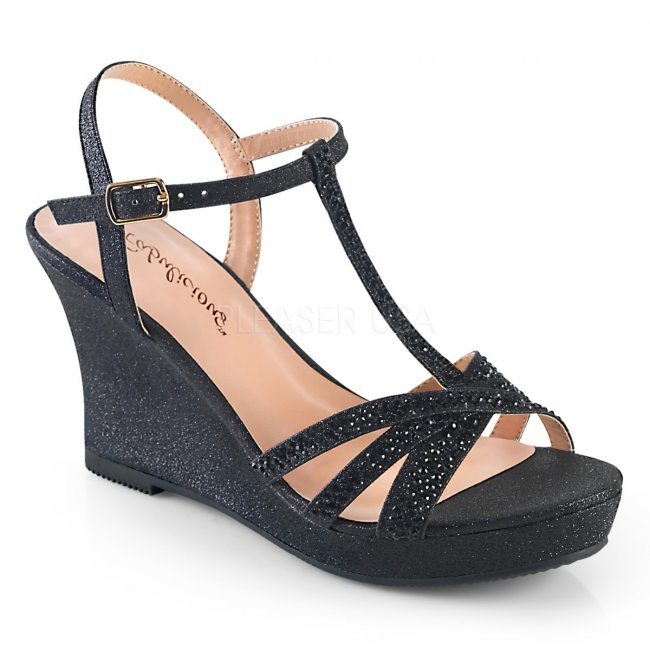 černé dámské sandálky na klínku Silvie-20-bfa - Velikost 37