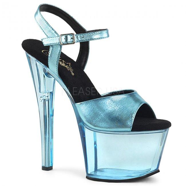 vysoké modré dámské sandálky Sky-309mt-bblmpu - Velikost 37