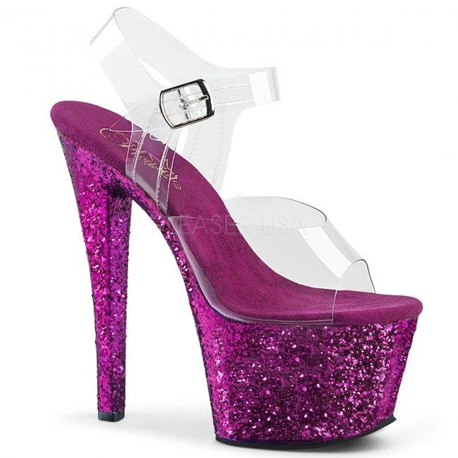 fialové vysoké dámské sandály glitry Sky-308lg-cppg - Velikost 35