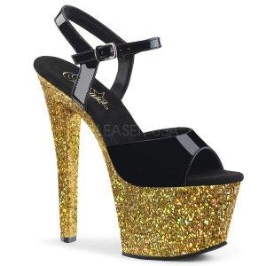 dámské zlaté sandály s glitry na vysoké platformě Sky-309lg-bgg