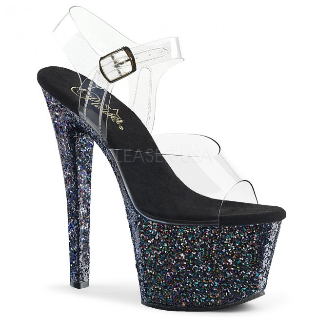 černé vysoké dámské sandály s barevnými glitry Sky-308lg-cbmg - Velikost 39