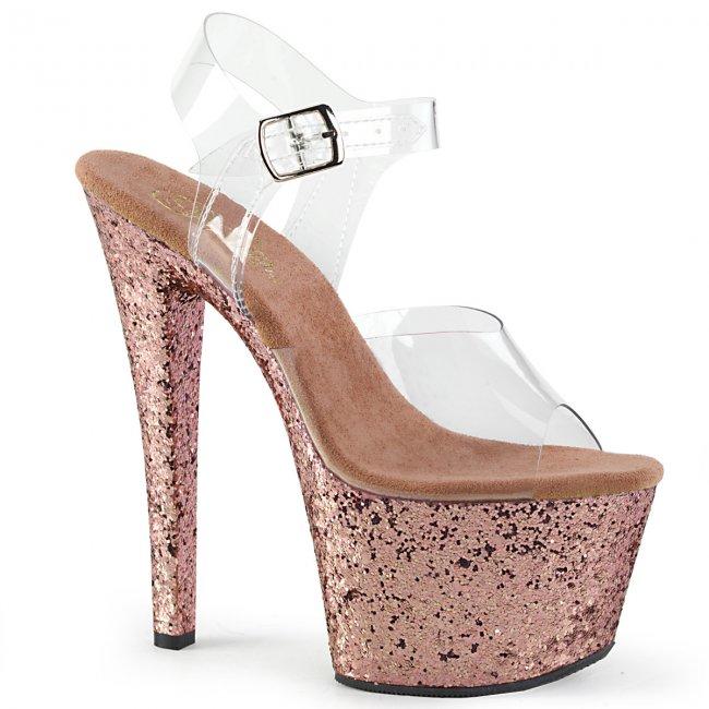 vysoké dámské sandály glitry Sky-308lg-crogldg - Velikost 38