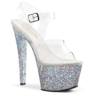 stříbrné vysoké dámské sandály s barevnými glitry Sky-308lg-csg