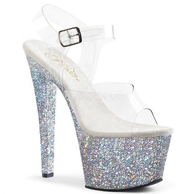 stříbrné vysoké dámské sandály s barevnými glitry Sky-308lg-csg - Velikost 38