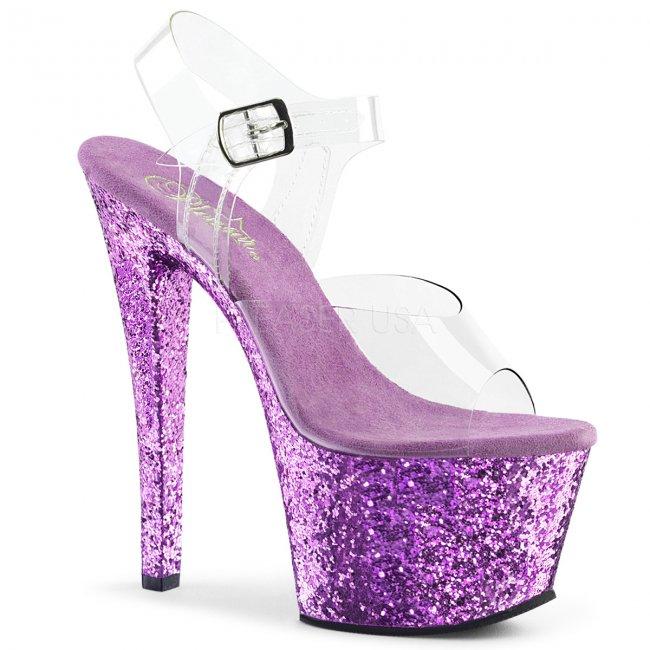 fialové vysoké dámské sandály s glitry Sky-308lg-clvg - Velikost 39