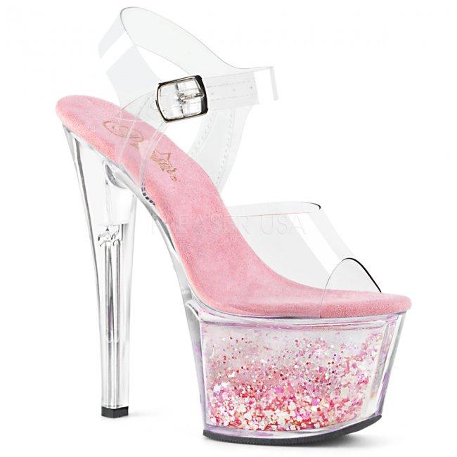 růžové vysoké dámské sandály s glitry Sky-308whg-ccbpg - Velikost 35
