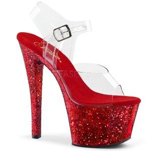 červené vysoké dámské sandály glitry Sky-308lg-crg