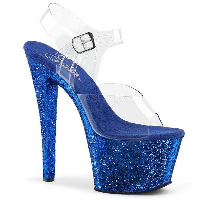 modré vysoké dámské sandály s glitry Sky-308lg-cblg - Velikost 41