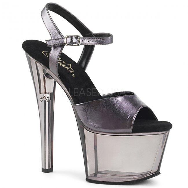 vysoké šedé dámské sandálky Sky-309mt-pwmpu - Velikost 39