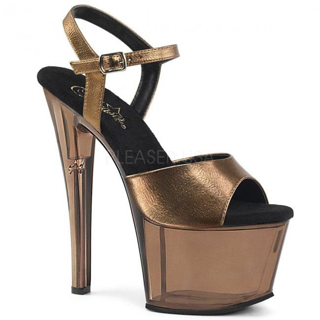 vysoké bronzové dámské sandálky Sky-309mt-bzmpu - Velikost 41