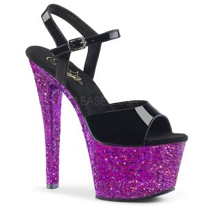 dámské fialové sandály s glitry na vysoké platformě Sky-309lg-bppg