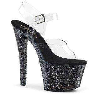 černé vysoké dámské sandály s glitry Sky-308lg-cbg