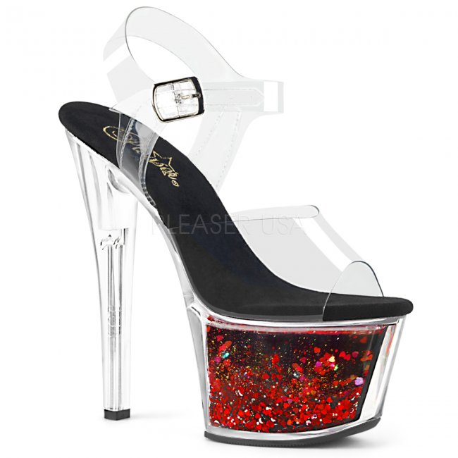 červené vysoké dámské sandály s glitry Sky-308whg-cbrg - Velikost 35