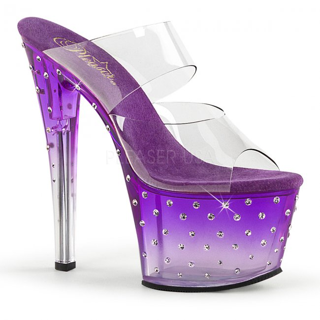 fialové dvoupáskové pantoflíčky na platformě Stardust-702t-cppc - Velikost 37