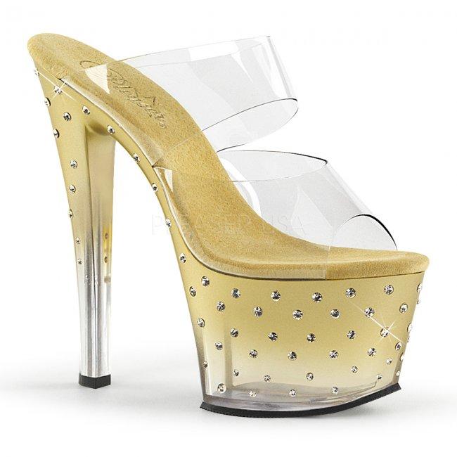 zlaté dvoupáskové pantoflíčky Stardust-702t-cgc - Velikost 41