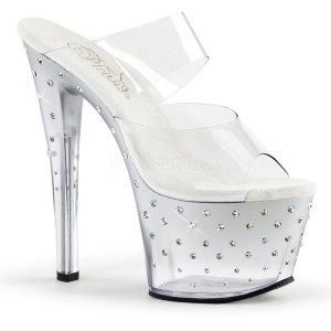 stříbrné dvoupáskové pantoflíčky Stardust-702t-csc