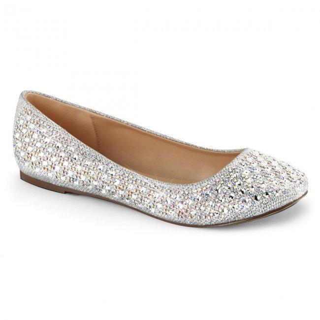 stříbrné dámské baleríny Treat-06-sgfa - Velikost 40