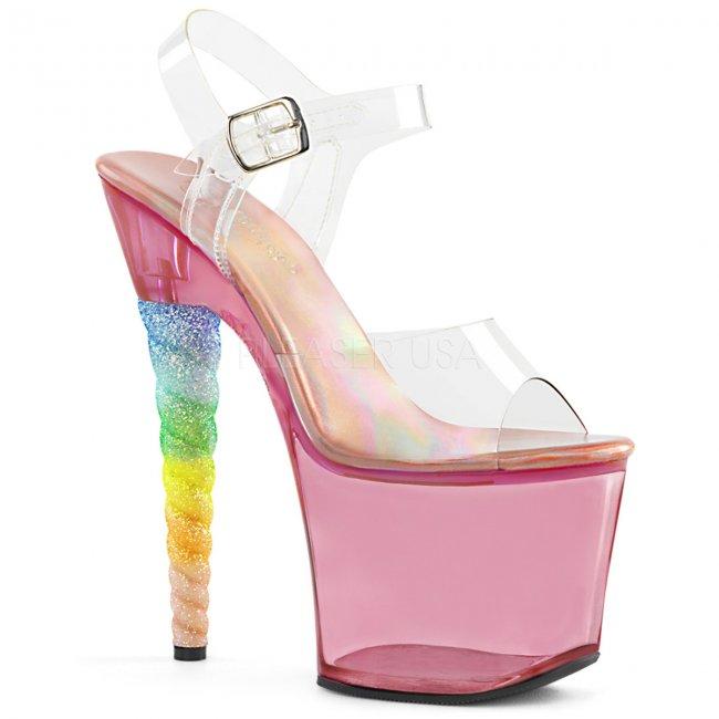 dámské vysoké sandálky s glitry Unicorn-708t-cbgumpn - Velikost 40
